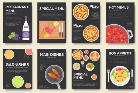manjar: Cocinar Conjunto de tarjetas con el fondo del menú del vector. menú de cocción concepto de diseño de la bandera