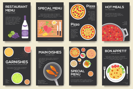 borscht: Cooking set cards with menu vector background. Cooking menu banner design concept