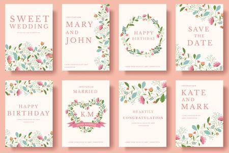 花の招待カードのセットです。結婚式の招待カード イラスト セット カラフルな挨拶を交わした。ベクター デザイン コンセプトのウェディング コ