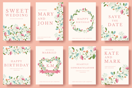 Set of flower invitation cards. colorful greeting wedding invitation card illustration set. Wedding vector design concept collection