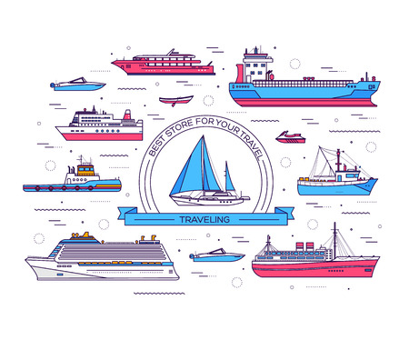 bulk carrier: Set of thin line ship vector illustration. Ship thin line icons background concept