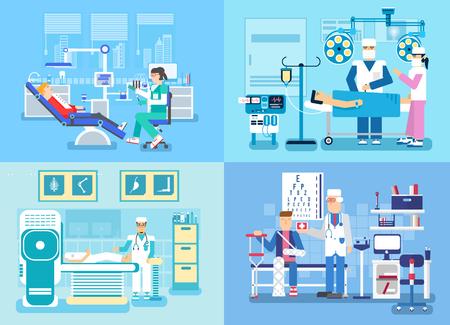 medical examination: Medical examination doctor set concept. Medical visit to the doctor concept Illustration