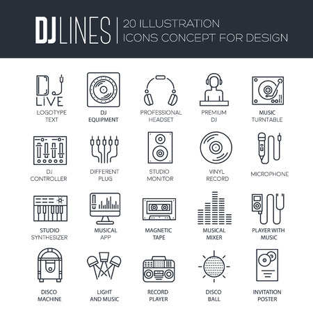 walkman: Thin lines icons of Dj staff and any equipment set. Vector music technology and accessories objects elements collection design concept