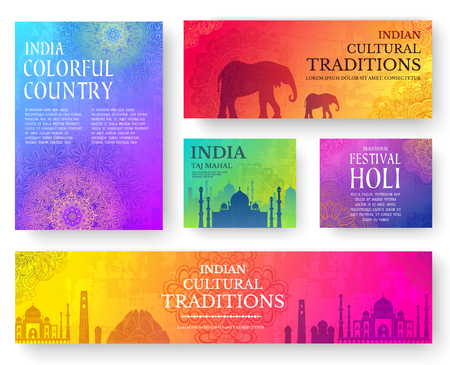 hola: Set of Indian country ornament illustration concept. Art traditional, poster, book, poster, abstract, ottoman motifs, element. Vector decorative ethnic greeting card or invitation design background.