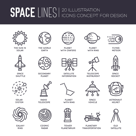 lunar rover: Vector thin lines icons stars in galaxy design concept. Set of huge space infographic universe illustration. Outer space rocket flying up into the solar system with a lot of planets background.