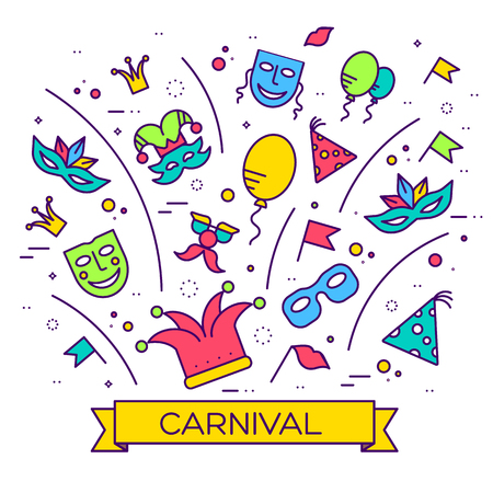 noisemaker: Celebration festival holiday party equipment thin lines illustrationss set. Vector masquerade carnival collection design illustrations concept