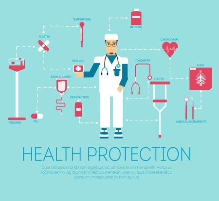 doctor visit: The patient came to the visit to the doctor infographic concept. Doctor helping with severe trauma doctor idea background. Vector illustration icons design