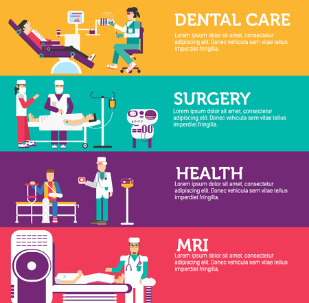 pediatrician: Banners set of clinic dental, surgery, health care and medical examination doctor collection concept. Vector business medicine flat icons in retro style background design