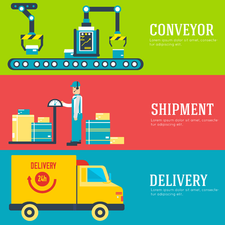 storage facility: Warehouse staff puts cargoes, box, package and parcels banners. Flat business delivery service vector illustration design concept. Flat quality logistics icons background