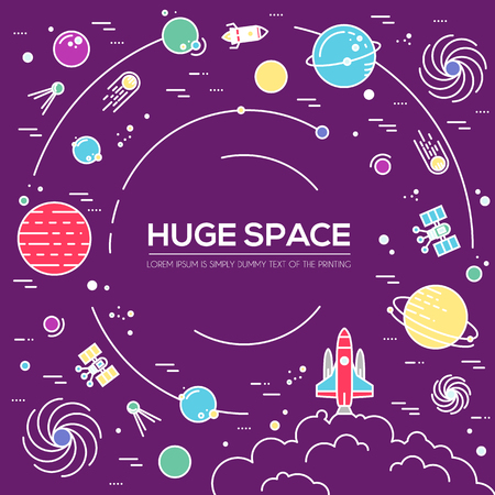 lunar rover: Outer space rocket flying flying to the moon background. Set of huge space infographic universe illustration. Vector thin lines icons stars in galaxy design