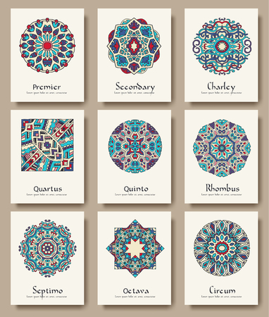 indian traditional: Set of traditional flyer pages ornament set illustration concept. Vintage art traditional, Islam, arabic, indian, ottoman motifs, elements. Vector decorative retro greeting card or invitation design Illustration