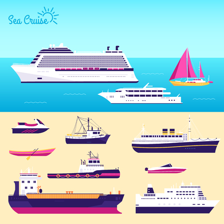 steamship: Set of flat yacht, scooter, boat, cargo ship, steamship, ferry, fishing boat, tug, bulk carrier, vessel, pleasure boat, cruise ship with blue sea background concept. Vector design illustration