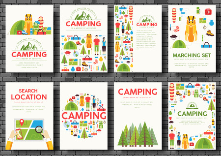 sleeping bag: Camping trip cards set. Hiking template of flyear, magazines, posters, book cover, banners. Trave tourl infographic concept background. Layout illustrations template pages with typography