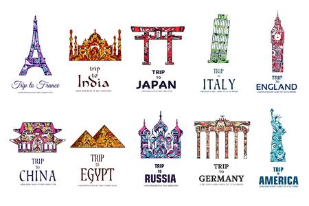 Set van kunst sier reizen op etnische stijl design. Architectuur art met logo, label. Historische monumenten van Frankrijk, India, Japan, China, Egypte, Rusland, Engeland, Italië, de VS, Duitsland, Mexico