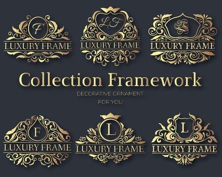 royal logo: Luxury gold label collection design set concept