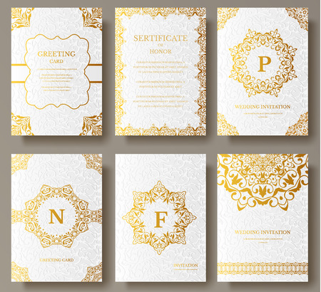 Set of Luxury Gold artistic pages set with logo brochure template. Vintage art identity,  floral card, magazine. Traditional, Islam, arabic, indian. Decorative retro greeting card or invitation Ilustração