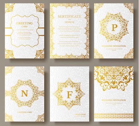 Set van luxe gouden artistieke pagina's set met logo brochure sjabloon. Vintage kunst identiteit, bloemenkaart, magazine. Traditioneel, de islam, het Arabisch, Indisch. Decoratieve retro wenskaart of uitnodiging