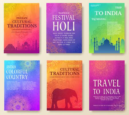 インド国飾りイラスト概念のセットです。芸術伝統的なポスター、書籍、ポスター、抽象、オスマンのモチーフ、要素。ベクター装飾的な民族のグ  イラスト・ベクター素材
