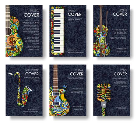 音楽飾りイラスト概念のセットです。芸術音楽、ポスター、書籍、ポスター、抽象、オスマン モチーフ、要素。ベクター装飾的な民族のグリーティ