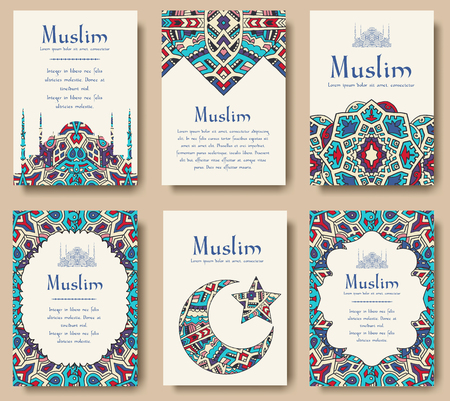 turkey istanbul: Set of Turkish flyer page ornament illustration concept. Art traditional, Islam, arabic, abstract, ottoman motifs, elements. Vector decorative ethnic greeting card or invitation design background.