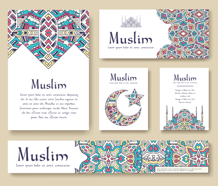 Set of Turkish flyer page ornament illustration concept. Art traditional, Islam, arabic, abstract, ottoman motifs, elements. Vector decorative ethnic greeting card or invitation design background.