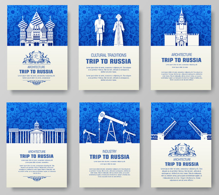 drawbridge: Set of Russia country ornament illustration concept. Art traditional, poster, book, poster, abstract, ottoman motifs, element. Vector decorative ethnic greeting card or invitation design background.