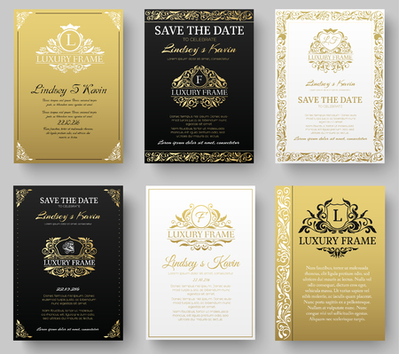 Set of gold luxury flyer pages set with logo ornament illustration concept. Vintage art identity, card, trendy, floral, invitation elements. Vector decorative retro greeting card or invitation design Vectores