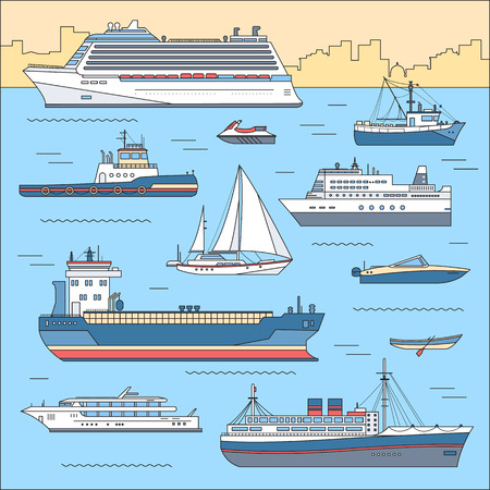bulk carrier: Set of flat yacht, scooter, boat, cargo ship, steamship, ferry, fishing boat, tug, bulk carrier, vessel, pleasure boat, cruise ship with blue sea background concept. Vector thin lines style design