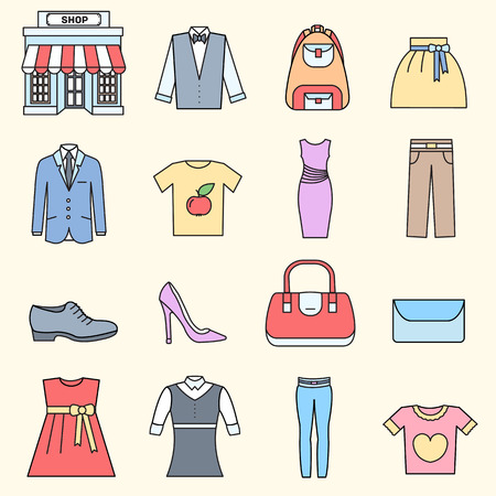 purchased: Many object purchased in the shop. Shopping circle abstract background concept. In flat thin lines outline style icons with shop label design illustration. Illustration