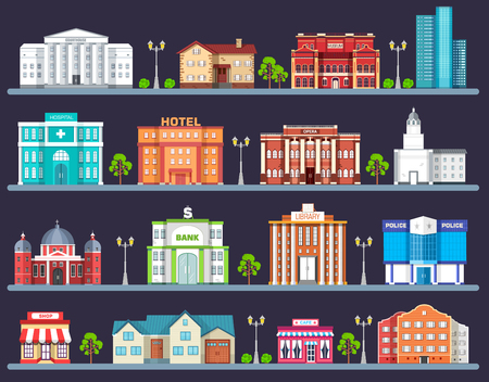 architecture design: Flat colorful vector city buildings set. Icon background concept design. Architecture construction: courthouse, home, museum, skyscraper, hospital, hotel, opera, theater. Vector urban landscape