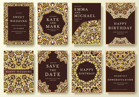 高級書道飾りイラスト概念フライヤー ページのセットです。ヴィンテージ アート、伝統的なイスラム教、アラビア語、インドの要素。ベクター装飾