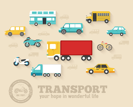 mini bus: Flat cars concept set icon backgrounds illustration design. Template for web and mobile with long shadow Illustration