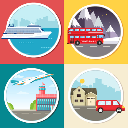 Variations transport of travel vacation tour infographic. Cruise, bus, flying on plane, car journey trip background. Flat vector illustration concepts set design.