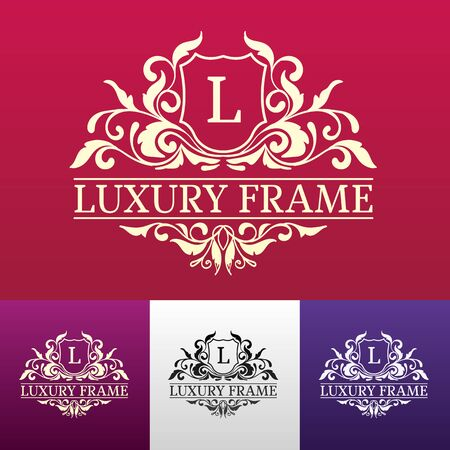 ornate: Luxury label or King place symbol element with decorative calligraphy object set. Template for classical card, invitation, identity cover design, packaging, hipster stamp. Vector illustration concept