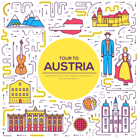 Country of Austria travel vacation guide of goods, place and feature. Set of architecture, fashion, people, item, nature background concept. Infographic traditional ethnic flat, outline, thin line icon.