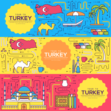 Country Turkey vector brochure cards thin line set. travel template of flyear, magazines, posters, book cover, banners. Layout culture outline illustrations modern pages