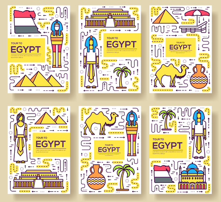 Country Egypt travel vacation guidevector brochure card thin line set.