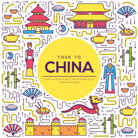 Country China travel vacation guide of goods, place and feature. Set of architecture, fashion, people, item, nature background concept. Infographic traditional ethnic flat, outline, thin line icon. Illusztráció