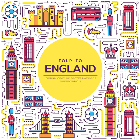 Country England travel vacation guide of goods, place and feature. Set of architecture, fashion, people, item, nature background concept. Infographic traditional ethnic flat, outline, thin line icon.