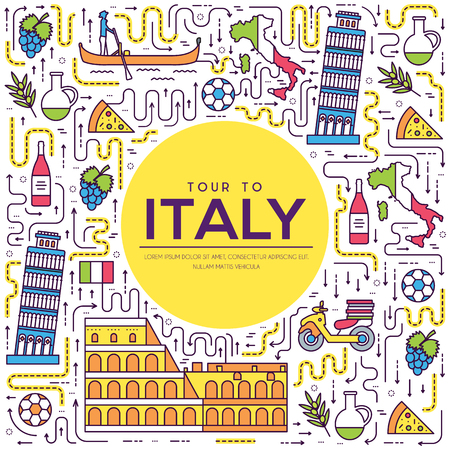 Country Italy travel vacation guide of goods, place and feature. Set of architecture, fashion, people, item, background concept. Infographic traditional ethnic flat, outline, thin line icon.