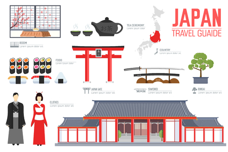 Country Japan travel vacation guide of goods, places and features. Set of architecture, fashion, people, items, nature background concept. Infographic template design for web and mobile on flat style.