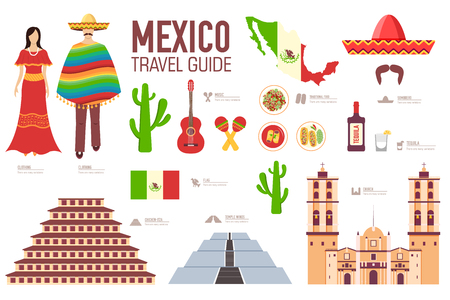 Country of Mexico travel vacation guide of goods, places and features. Set of architecture, food, fashion, items, nature background concept. Infographics template design for web and mobile on flat style.