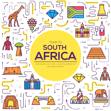 Country South Africa travel vacation of place and feature. Set of architecture, item, nature background concept. Infographic traditional ethnic flat, outline, thin line icon.