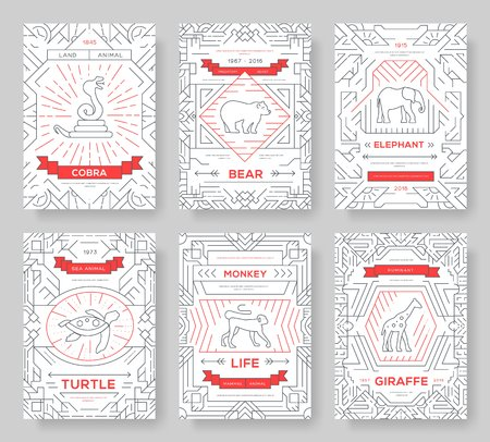 Animal  thin line brochure cards set. exotic traditional template of flyear, magazines, posters, book cover, banners. Wild life outline invitation concept background. Layout quality modern pages