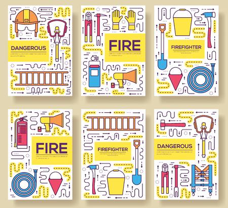 Plano bombero uniforme vector folleto tarjetas delgada línea conjunto. primera plantilla de ayuda de flyear, revistas, carteles, portadas de libros, pancartas. Los instrumentos de diseño resumen ilustraciones páginas modernas Ilustración de vector