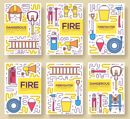 Flat firefighter uniform vector brochure cards thin line set. first help template of flyear, magazines, posters, book cover, banners. Layout  instruments outline illustrations modern pages