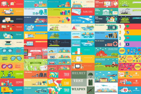 Big collection of banners in flat style. In set themes, business, airport, online workshop, travel, medicine, ecology, news, home appliance, farm, food, glasses, city, army, painter, export vector design. Vettoriali
