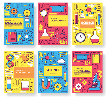 Premium quality scientific vector brochure cards thin line set. Thinking the idea linear template of flyer, magazines, posters, book cover, banners. Layout research equipment outline modern pages.