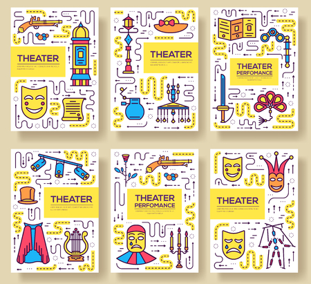 Premium quality theater vector brochure cards thin line set. Festival masquerade linear template of flyer, magazines, posters, book cover, banners. Layout equipment outline illustrations modern pages.