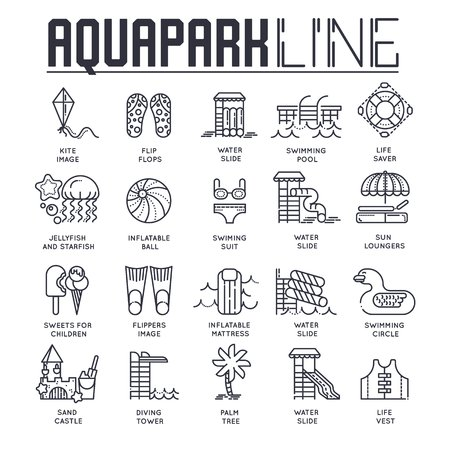 Set of different line drawn icons dedicated to aqua park theme. Layout modern vector background illustration design concept.